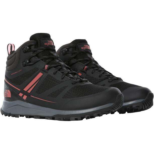The North Face Litewave FutureLight Mid Shoes Women, musta/vaaleanpunainen