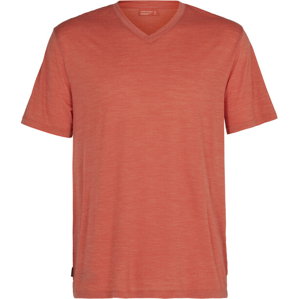 Icebreaker Nature Dye Drayden SS V-Neck Shirt Men, punainen