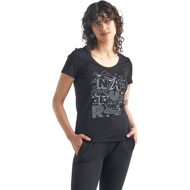 Icebreaker Tech Lite Kurzarm Scoop Shirt Nature Damen black