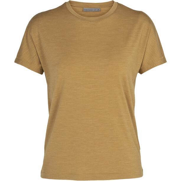 Icebreaker Utility Explr Kurzarm Rundhalsshirt Stripe Damen beige/gelb