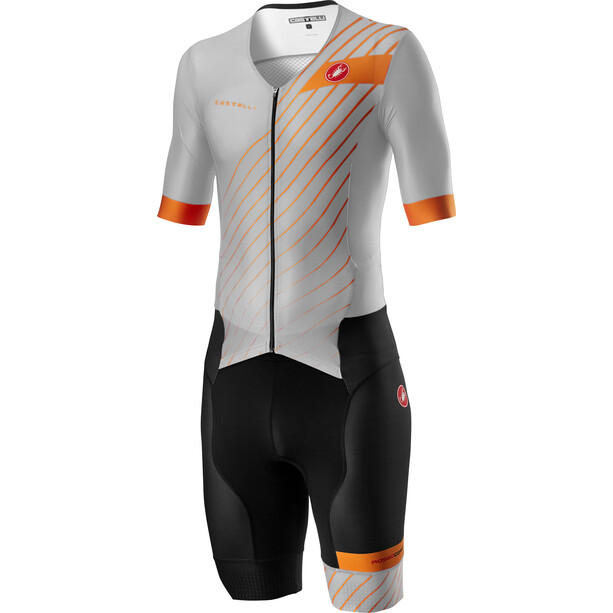 Castelli Free Sanremo 2 Kurzarm Anzug Herren silver gray/brilliant orange