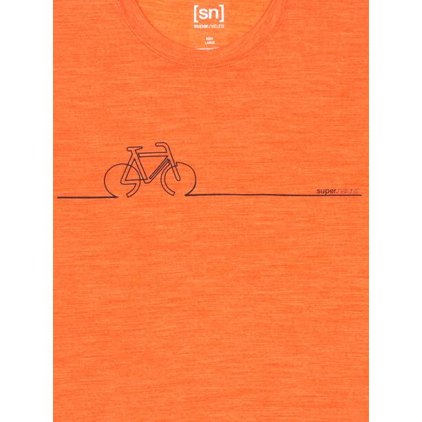 super.natural Bike Line Tee Men tangerine tango melange/jet black