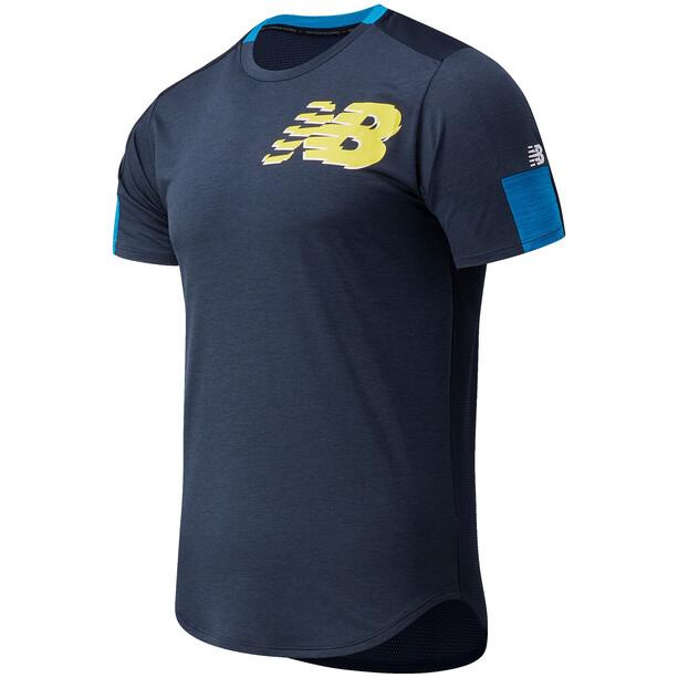 New Balance Printed Fast Flight Kurzarmshirt Herren blau