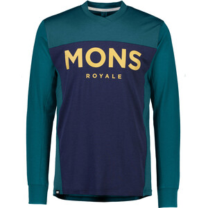 Mons Royale Redwood Enduro V-Neck LS Shirt Men Petrol/blå Petrol/blå