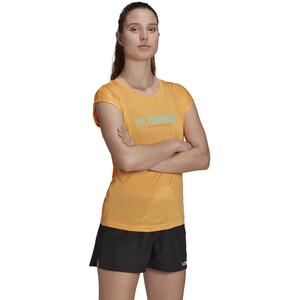adidas TERREX Primeblue Trail Functional Logo Tee Damen hazy orange/acid mint hazy orange/acid mint
