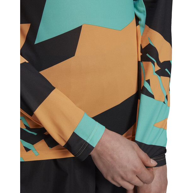 adidas TERREX Primeblue Trail Graphic Langarmshirt Damen orange/schwarz