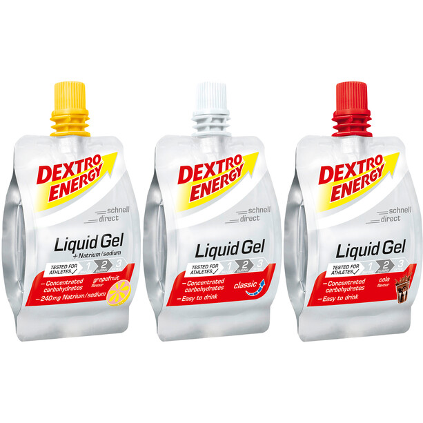 Dextro Energy Liquid Gel Box Triathlon 18 x 60ml Grapefruit/Classic/Cola