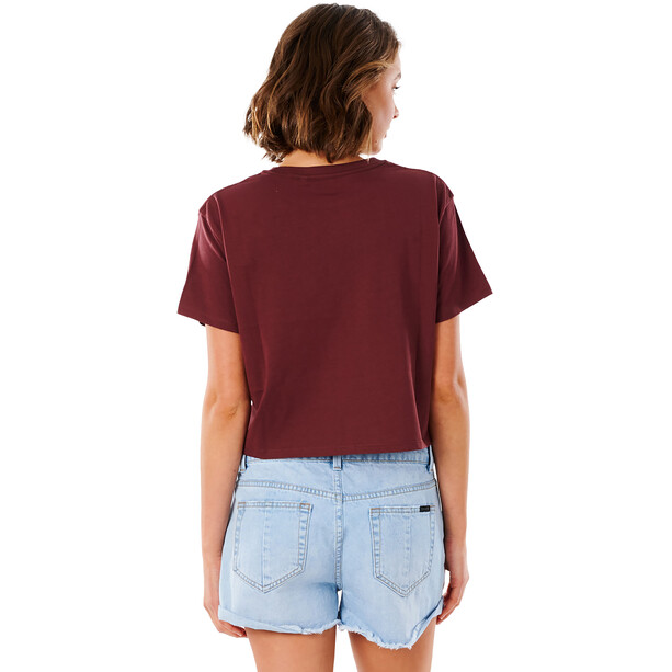 Rip Curl Tallows Crop T-Shirt Damen maroon