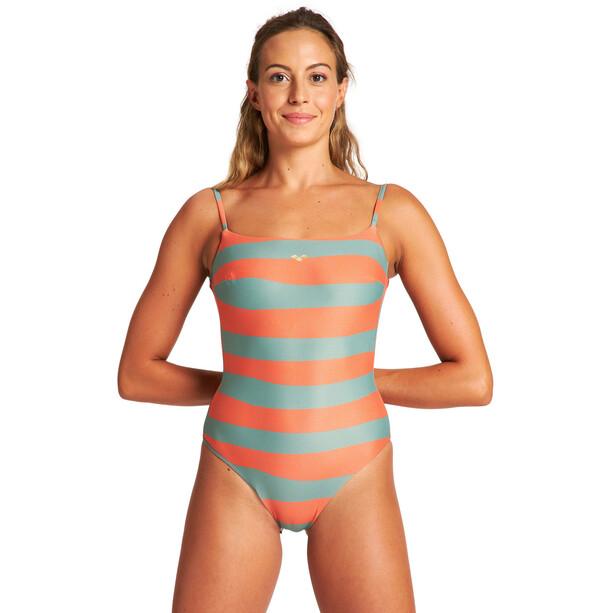 arena Allover U Back One Piece Badeanzug Damen grau/orange