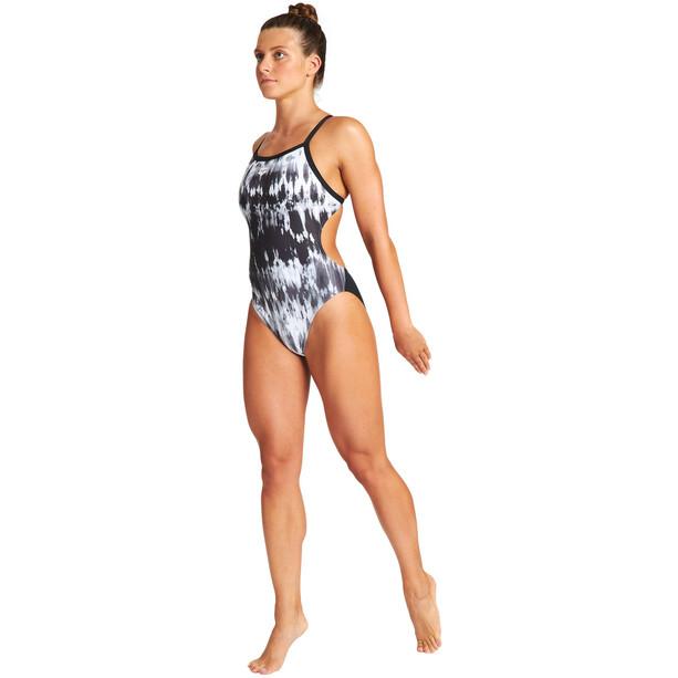arena Tiedye Stripes Challenge Back One Piece Swimsuit Women, black/white multi