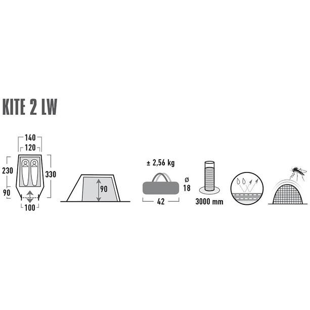 High Peak Kite 2 LW Zelt pesto/red