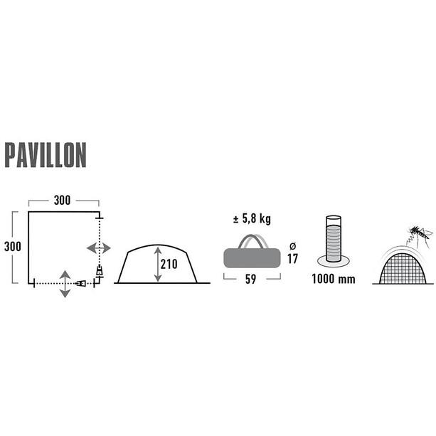 High Peak Pavillon 3x3m light grey/dark grey/lime