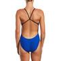 Nike Swim Logo Cutout One Piece Swimsuit Women, bleu