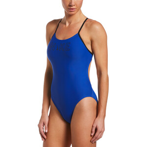 Nike Swim Logo Cutout One Piece Swimsuit Women, bleu bleu