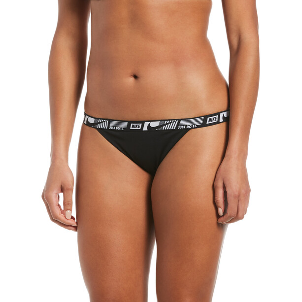 Nike Swim Logo Tape Banded Bikinihose Damen schwarz