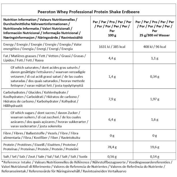Peeroton Whey Professional Protein Shake Tub 350g, Strawberry