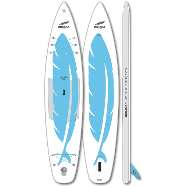 Indiana SUP 12'6 Feather Aufblasbares SUP Board white/blue