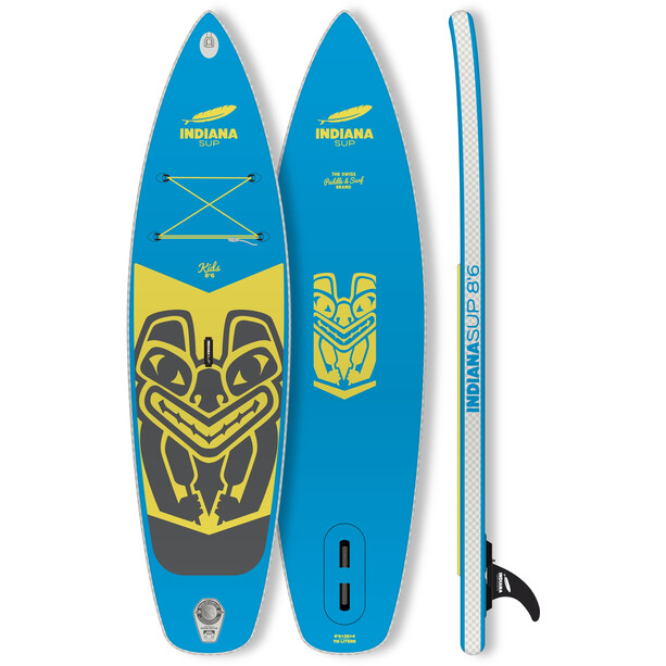 Indiana SUP 8'6 Kids Pack Aufblasbares SUP Board mit 2-teilig Carbon/Glasfaser Paddel Kinder blue/yellow