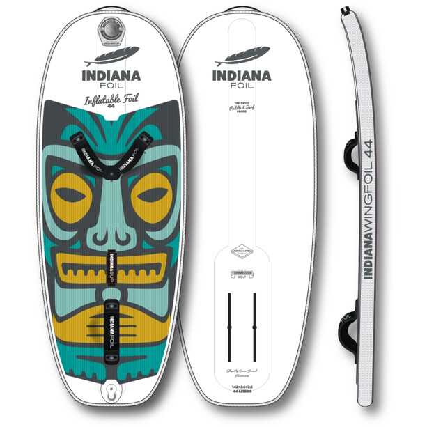 Indiana SUP Wing Foil 44 Aufblasbares Foilboard white/green/yellow