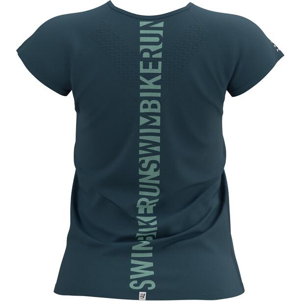 Compressport Training Kurzarm T-Shirt Born To SwimBikeRun 2021 Damen blau
