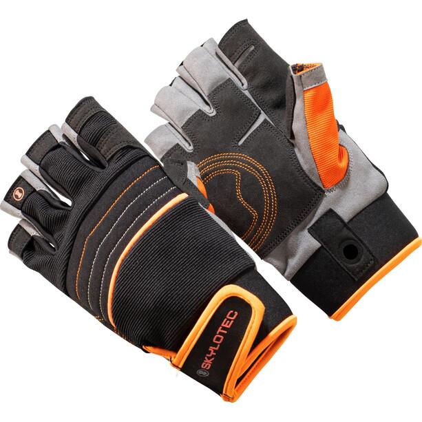 Skylotec SKYGRIP HalfFinger Kletterhandschuhe schwarz/orange