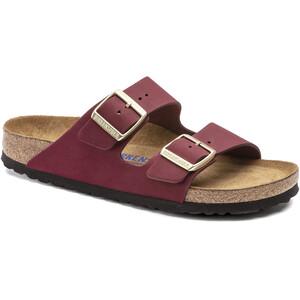 Birkenstock Arizona Sandalen Nubuck Leder Soft Fußbett Schmal rot rot