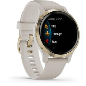 Garmin Venu 2S Smartwatch mit Schnellwechsel-Silikonarmbänder 18mm beige/gold beige/gold