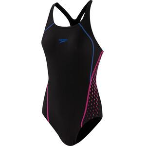 speedo Placement Panel Muskleback Badeanzug Damen schwarz/pink schwarz/pink