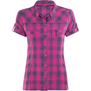 Bergans Leknes Kurzarmhemd Damen hot pink/navy check hot pink/navy check