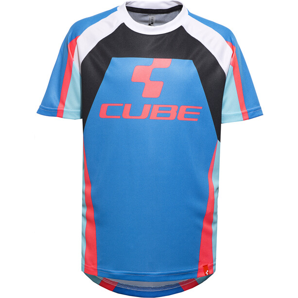 Cube Action Team Round Neck Jersey shortsleeve Barn blue'n'white'n'red