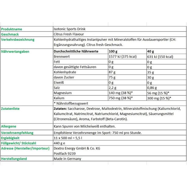 Dextro Energy Isotonic Sports Drink 440g Zitrus Fresh