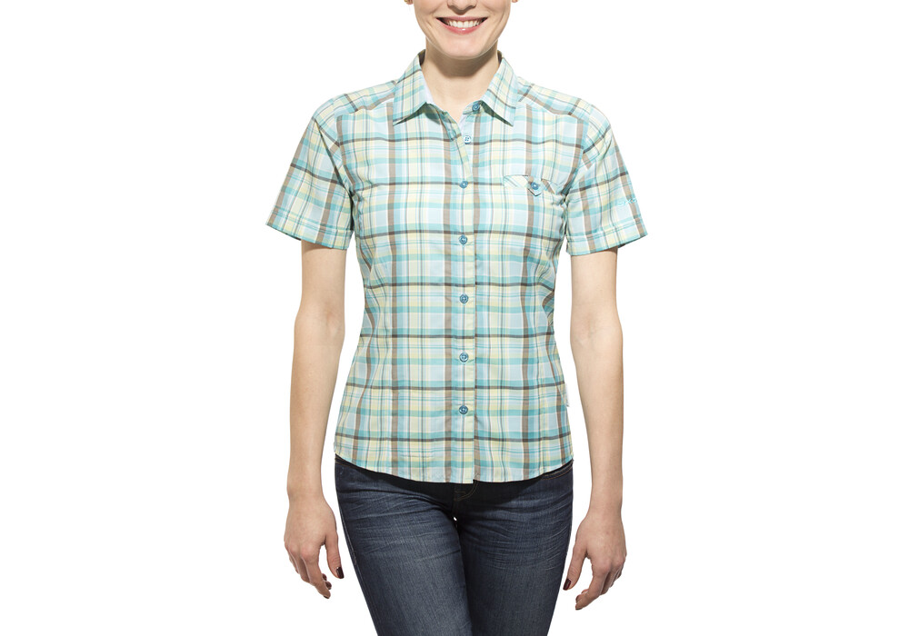 Axant alps travel shirt agion active women blue green for Womens green checked shirt