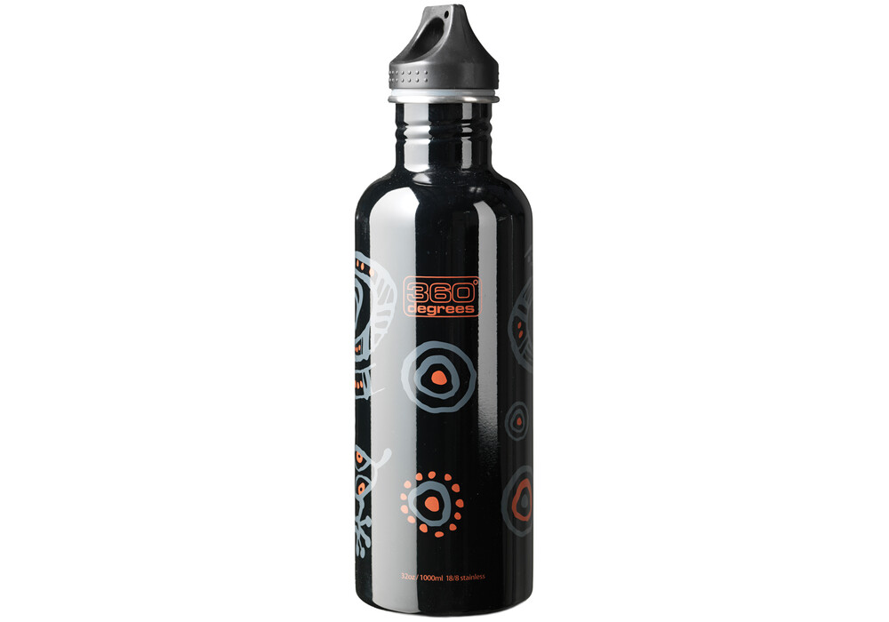 360 degrees stainless drink bottle 1000ml gecko on black. Black Bedroom Furniture Sets. Home Design Ideas