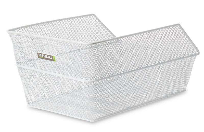 Basil Cento Sykkelkurv finmasket, vertikal Hvit  2019 Sykkelkurver til bagasjebrett