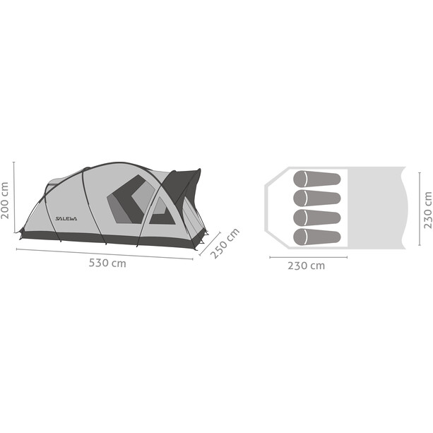 SALEWA Alpine Lodge IV Zelt cactus/grey