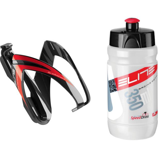 Elite Kit Ceo Trinkflasche mit Halterung 350ml schwarz/rot