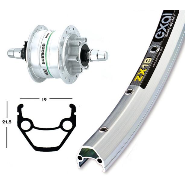 Exal V-Rad 28 x 1.75, Shimano DH3D30 silber