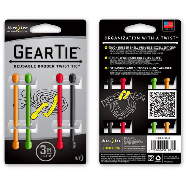 "Nite Ize Gear Tie Strap 4-Pack 3"" Osorterade färger (A1)"