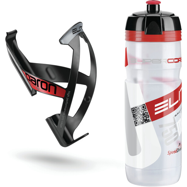 Elite Kit Supercorsa/Paron Bottle & Holder 0.75 litres clear/red/black/red