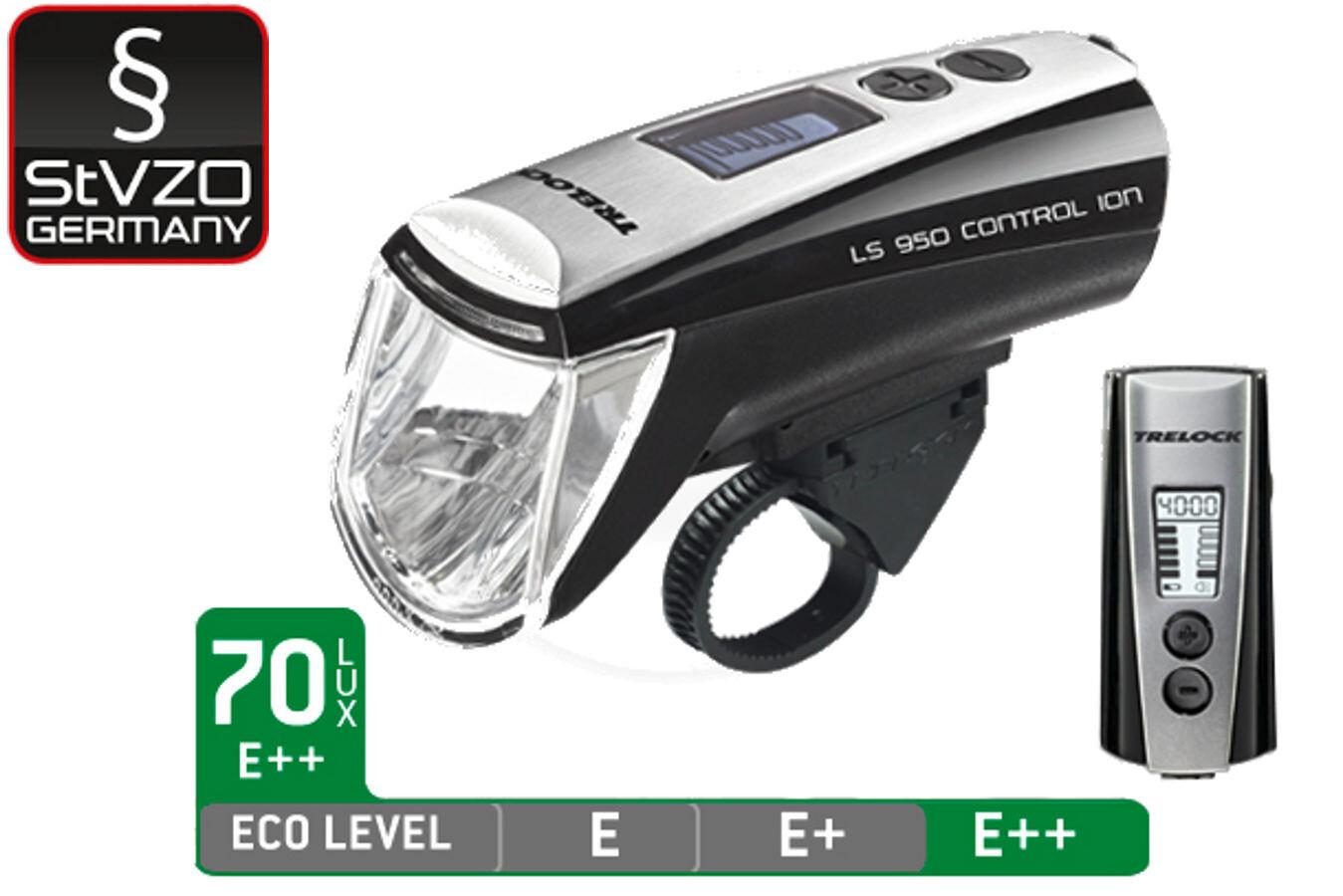 45h Akku Trelock LS 950 ION Control 720 Reego Fahrrad-Lampenset bis 70 Lux
