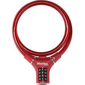 Masterlock 8229 Candado de cable 12mm x 900mm, rojo rojo