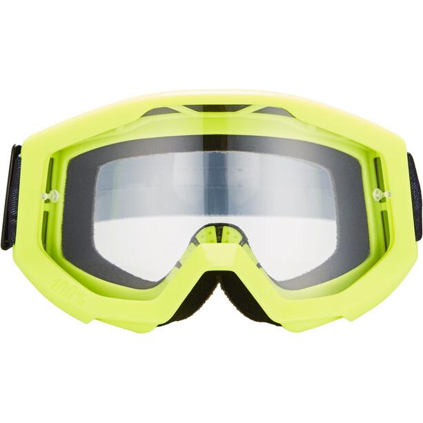 100% Strata Goggles neon yellow/anti fog clear