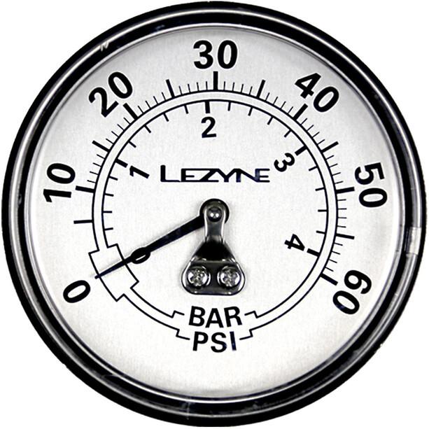 """Lezyne Manomètre 2-5"""" 60PSI pour toutes les pompes Dirt Floor, black/silver"""