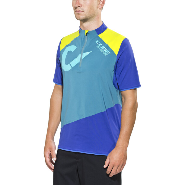 Cube AM Jersey shortarm Herr blue'n'grey'n'lime