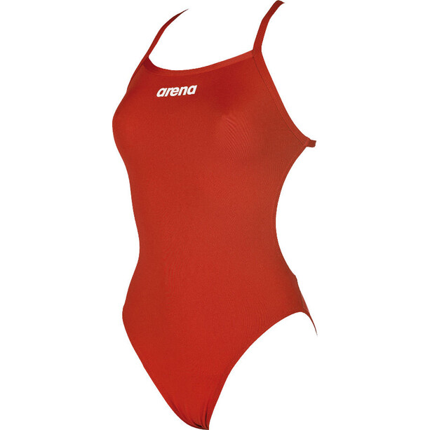 arena Solid Light Tech High One Piece Badeanzug Damen red-white
