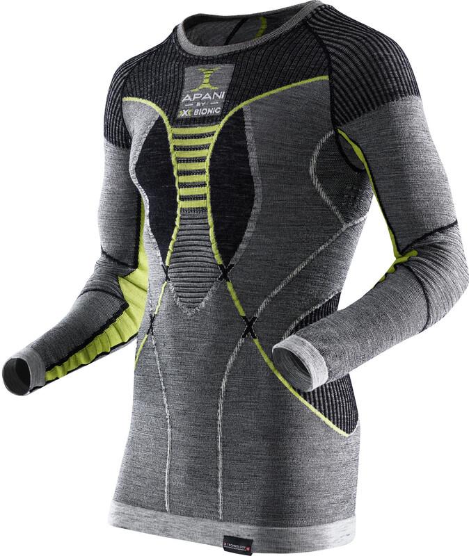 X-Bionic Apani Merino Shirt L/S Roundneck Men Black/Grey/Yellow S/M 2018 Unterhemden