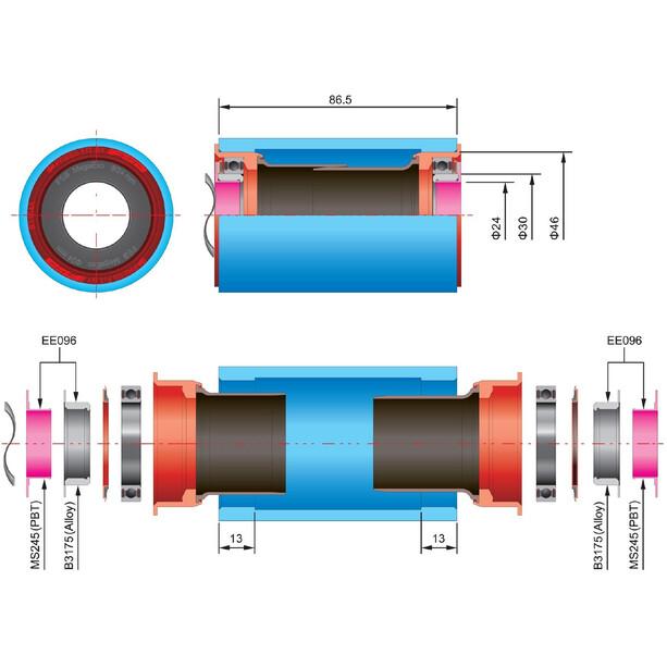 FSA BB386Evo-24 Reducer Adaptateur axe de pédalier