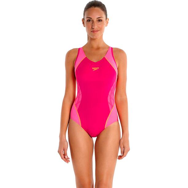 speedo SpeedoFit Splice Muscleback Damen magenta/fluo pink/fluo orange