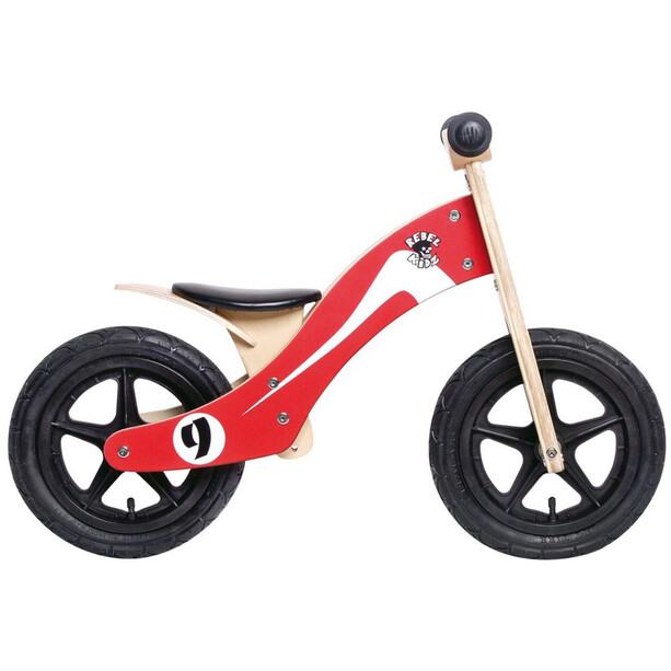 "Rebel Kidz Wood Air Laufrad 12"" Kinder retro racer/rot/weiß"