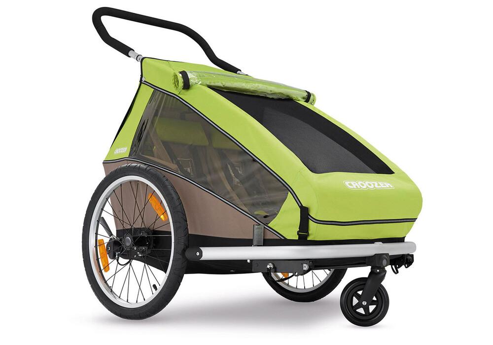 croozer kid for 2 rimorchio bici beige verde su. Black Bedroom Furniture Sets. Home Design Ideas